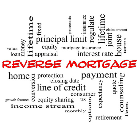 reverse: Reverse Mortgage Word Cloud Concept in red caps with great terms such as payment, equity, quote, fees and more.