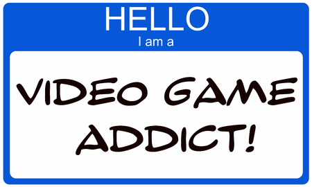 Hello I am a Video Game Addict written on a blue and white name tag sticker.