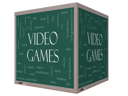 word game: Video Games Word Cloud Concept on a 3D cube Blackboard with great terms such as addictive, violent, children, play, rating, fun and more.