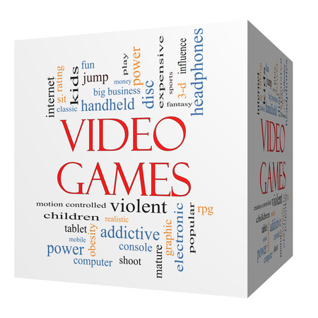 addictive: Video Games 3D cube Word Cloud Concept with great terms such as addictive, violent, children, play, rating, fun and more.