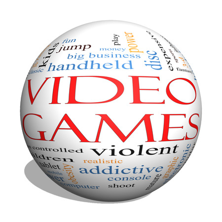 addictive: Video Games 3D sphere Word Cloud Concept with great terms such as addictive, violent, children, play, rating, fun and more.
