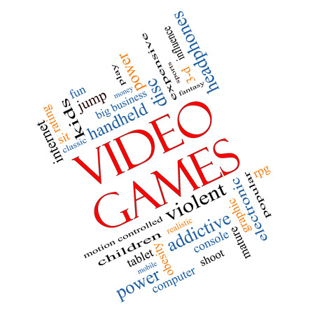 Video Games Word Cloud Concept Angled with great terms such as addictive, violent, children, play, rating, fun and more. photo