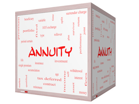 certain: Annuity Word Cloud Concept on a 3D cube Whiteboard with great terms such as investment, rollover, income and more.