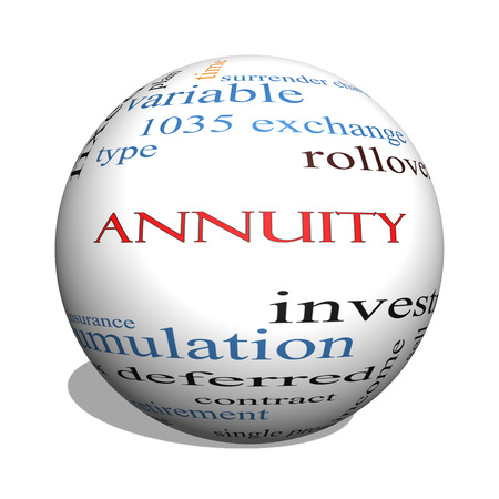 rollover: Annuity 3D sphere Word Cloud Concept with great terms such as investment, rollover, income and more.
