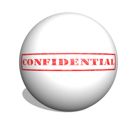 Red Confidential weathered stamp on a 3D ball ready for use or for a confidential concept. Imagens