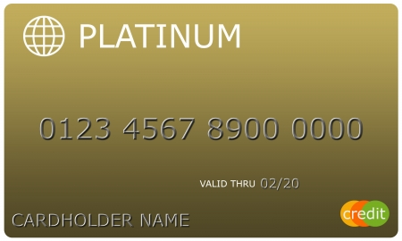 platinum: An imitation Platinum gold Credit Card with numbers and valid thru date great to use in a concept.