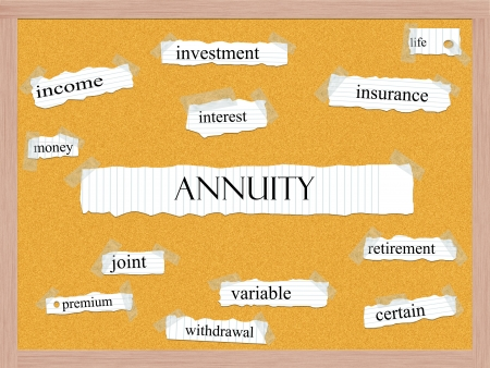 Annuity Corkboard Word Concept with great terms such as joint, income, interest and more. Stock Photo