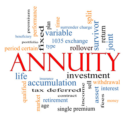 Annuity Word Cloud Concept with great terms such as investment, rollover, income and more. Archivio Fotografico
