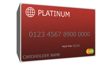 cardholder: An imitation 3D Platinum red Credit Card with nubmers and valid thru date great to use in a concept.