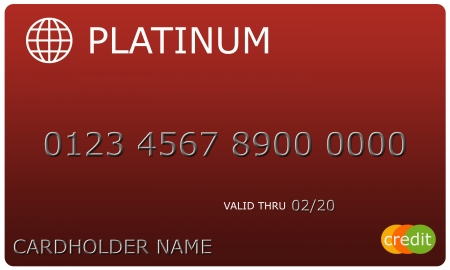 cardholder: An imitation Platinum red Credit Card with numbers and valid thru date great to use in a concept.
