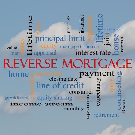 �quit�: L'hypoth�que invers�e Word Cloud Concept sur un fond de nuage avec des termes tels que le paiement, l'�quit�, devis, les frais et plus. Banque d'images