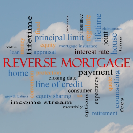 proceeds: Reverse Mortgage Word Cloud Concept on a cloud background with great terms such as payment, equity, quote, fees and more.