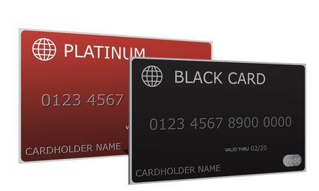 3D Platinum e Black carte di credito seduti fianco a fianco con il nome del titolare, numero, data di Archivio Fotografico - 25199493