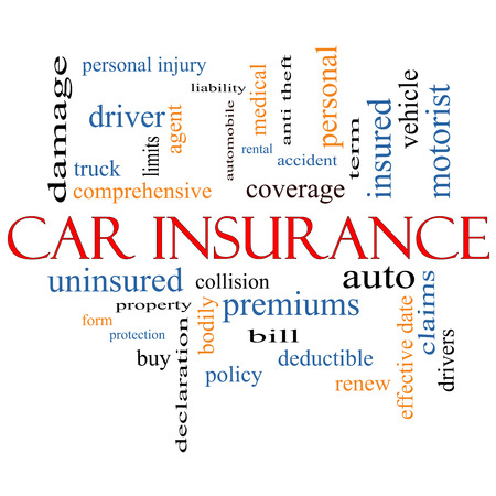 personal injury: Car Insurance Word Cloud Concept with great terms such as auto, claims, coverage, bill and more. Stock Photo