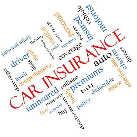 premiums: Car Insurance Word Cloud Concept Angled with great terms such as auto, claims, coverage, bill and more.