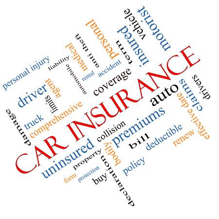 elementos de protección personal: Seguro de coche Palabra Nube Concepto en ángulo con grandes términos como auto, las reclamaciones, la cobertura, la factura y más.