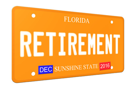 An imitation 3D Retirement Florida License plate complete with stickers and Sunshine State.