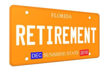 Een imitatie 3D Pensioen Florida License plaat compleet met stickers en de Sunshine State.