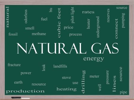 이러한 에너지, 전력, 매립 등과 같은 좋은 조건의 칠판에 천연 가스 단어 구름 개념입니다.