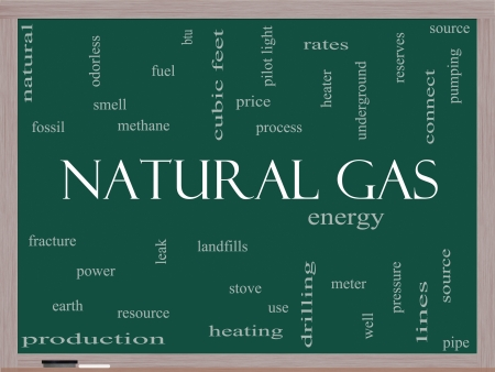 Natural Gas Word Cloud Concept on a Blackboard with great terms such as energy, power, landfill and more. photo
