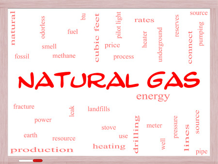 stove pipe: Natural Gas Word Cloud Concept on a Whiteboard with great terms such as energy, power, landfill and more. Stock Photo