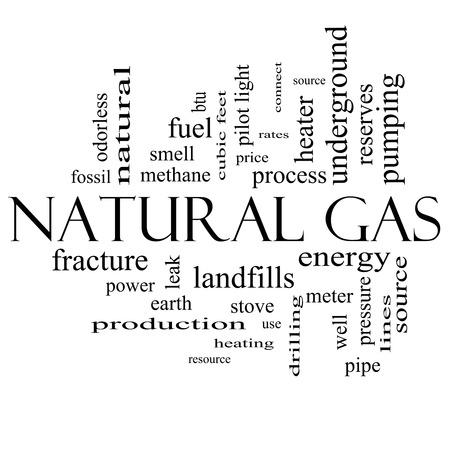 landfills: Natural Gas Word Cloud Concept in black and white with great terms such as energy, power, landfill and more. Stock Photo