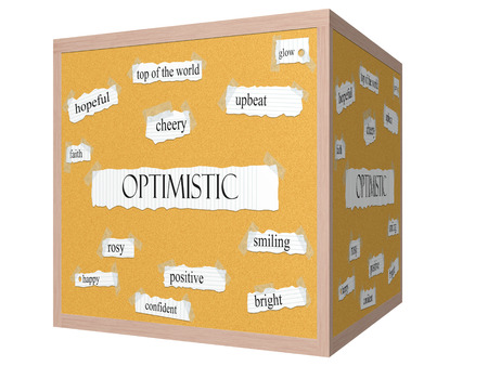 Optimistic 3D cube Corkboard Word Concept with great terms such as glow, upbeat, cheery and more.