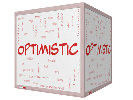 idealistic: Optimistic Word Cloud Concept on a 3D cube Whiteboard with great terms such as hopeful, upbeat, happy and more.