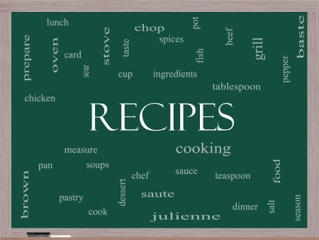 Recipes Word Cloud Concept on a Blackboard with great terms such as cooking, measure, chop, grill and more. photo