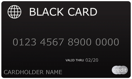 thru: An imitation Black Credit Card complete with numbers, valid thru date, and cardholder name. Stock Photo