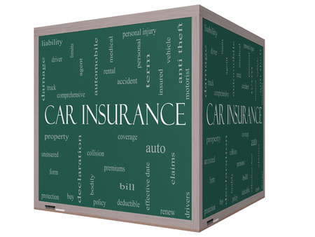premiums: Car Insurance Word Cloud Concept on a 3D cube Blackboard with great terms such as auto, claims, coverage, bill and more.