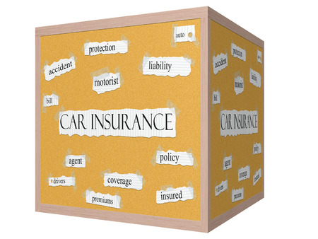 premiums: Car Insurance 3D cube Corkboard Word Concept with great terms such as protection, auto, agent and more. Stock Photo