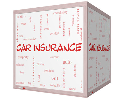claims: Car Insurance Word Cloud Concept on a 3D cube Whiteboard with great terms such as auto, claims, coverage, bill and more.