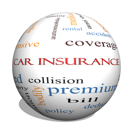 premiums: Car Insurance 3D Sphere Word Cloud Concept with great terms such as auto, claims, coverage, bill and more.