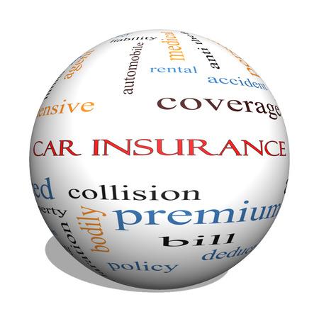 reclamos: Seguro de coche 3D Esfera Palabra Nube Concepto con los t�rminos tales como auto, las reclamaciones, la cobertura, la factura y m�s.