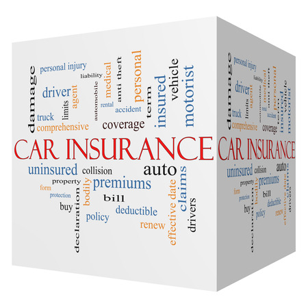 premiums: Car Insurance 3D Cube Word Cloud Concept with great terms such as auto, claims, coverage, bill and more.