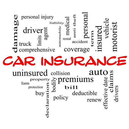 premiums: Car Insurance Word Cloud Concept in red caps with great terms such as auto, claims, coverage, bill and more. Stock Photo