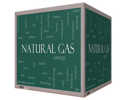 이러한 에너지, 전력, 매립 등과 같은 좋은 조건의 3D 큐브 칠판에 천연 가스 단어 구름 개념입니다.