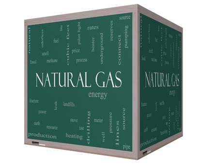 landfills: Natural Gas Word Cloud Concept on a 3D cube Blackboard with great terms such as energy, power, landfill and more. Stock Photo