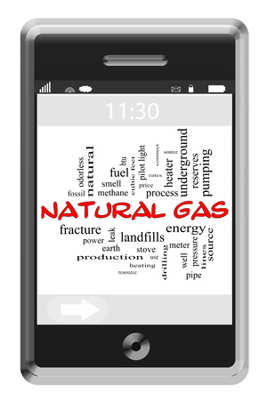 landfills: Natural Gas Word Cloud Concept of Touchscreen Phone with great terms such as meter, power, energy and more. Stock Photo