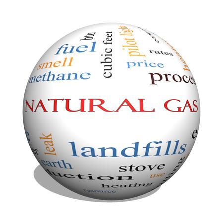 이러한 에너지, 전력, 매립 등과 같은 좋은 조건에 천연 가스 3D 구 단어 구름 개념입니다. 스톡 콘텐츠 - 25199556