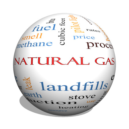 landfills: Natural Gas 3D sphere Word Cloud Concept with great terms such as energy, power, landfill and more.