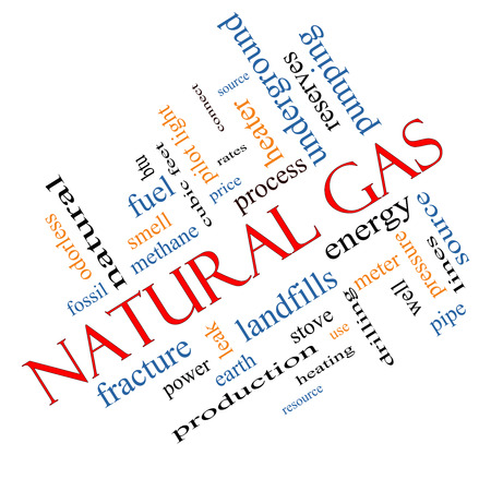 landfills: Natural Gas Word Cloud Concept angled with great terms such as energy, power, landfill and more. Stock Photo