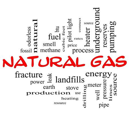 이러한 에너지, 전력, 매립 등과 같은 좋은 조건에 빨간 모자에 천연 가스 단어 구름 개념입니다. 스톡 콘텐츠 - 25199558