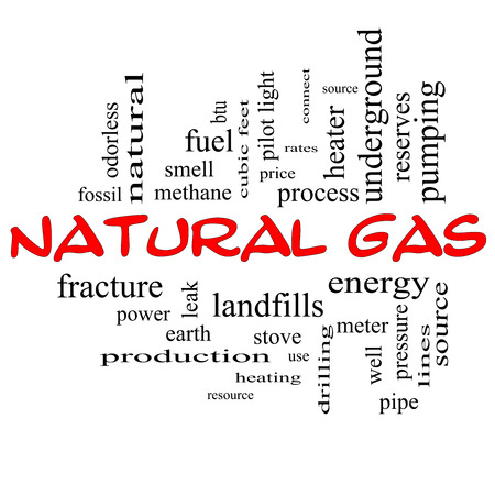 Natural Gas Word Cloud Concept in red caps with great terms such as energy, power, landfill and more. photo