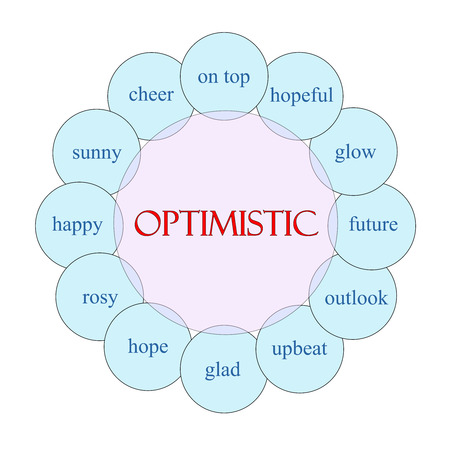 Optimistic concept circular diagram in pink and blue with great terms such as hopeful, glow, upbeat and more.