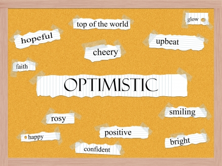 Optimistic Corkboard Word Concept with great terms such as glow, upbeat, cheery and more. Stock Photo