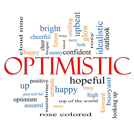 on cloud nine: Optimistic Word Cloud Concept with great terms such as hopeful, upbeat, happy and more. Stock Photo