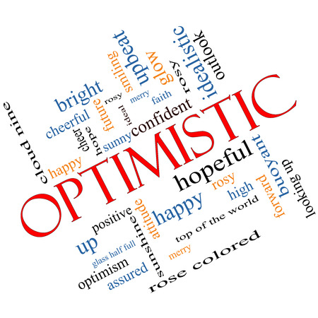 Optimistic Word Cloud Concept angled with great terms such as hopeful, upbeat, happy and more.