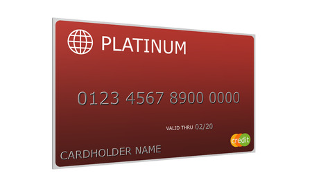 cardholder: An imitation 3D Platinum red Credit Card with numbers, valid date, and name making a great concept.
